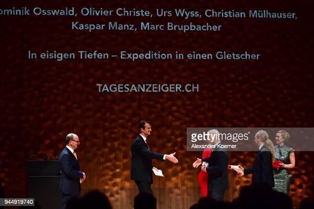 Jury members Ruediger Dietz Klaus Brinkbaeumer Anja Reschke Winners of the 'Best WebProject' Award Dominik Osswald Christian Muelhauser and host...