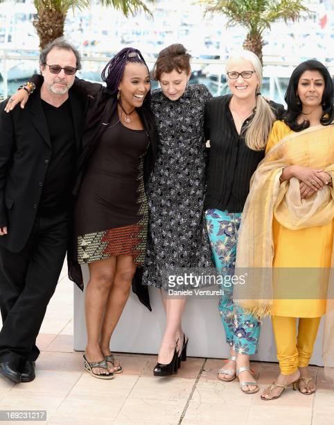 Jury members Semih Kaplanoglu, Maji-Da Abdi, Nicoletta Braschi, Jury president Jane Campion and jury member Nandita Das attend the photocall for the...