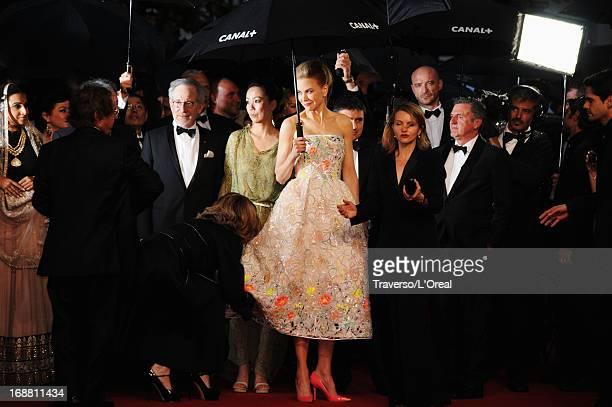 Jury members Steven Spielberg Naomi Kawase and Nicole Kidman attend the Opening Ceremony and 'The Great Gatsby' Premiere during the 66th Annual...