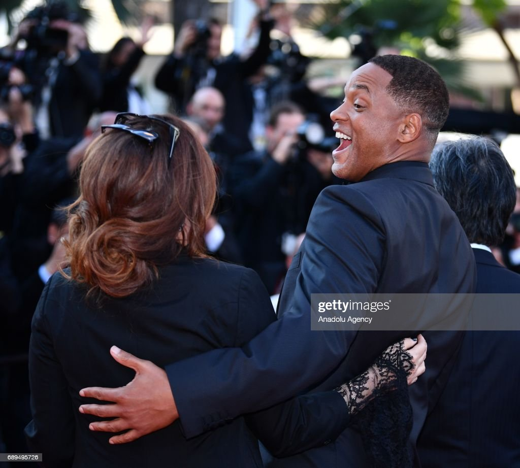 Jury members US actor Will Smith (R) and French actress Agnes Jaoui arrive for the Closing Awards Ceremony of the 70th annual Cannes Film Festival in Cannes, France on May 28, 2017.