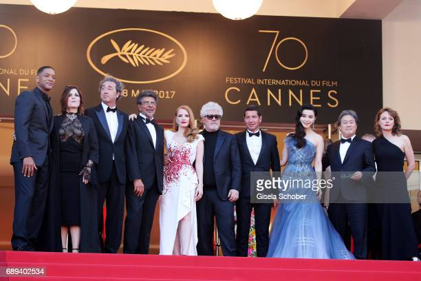 Jury members Will Smith Agnes Jaoui Paolo Sorrentino Gabriel Yared Jessica Chastain President of the jury Pedro Almodovar and jury members Fan...