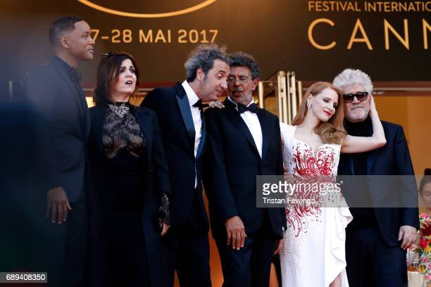 Jury members Will Smith Agnes Jaoui Paolo Sorrentino Gabriel Yared and Jessica Chastain President of the jury Pedro Almodovar and jury member Fan...