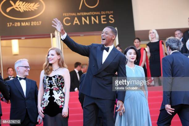 Jury members Will Smith and Jessica Chastain attends the Ismael's Ghosts screening and Opening Gala during the 70th annual Cannes Film Festival at...