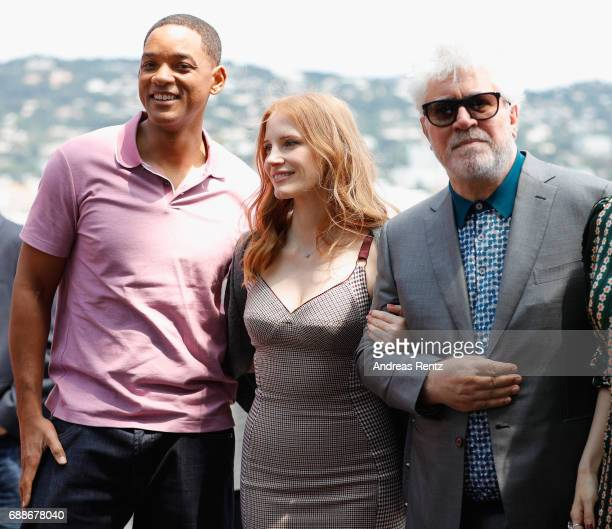 Jury members Will Smith Jessica Chastain and Pedro Almodovar attend the Mayor's Aioli during the 70th annual Cannes Film Festival at Palais des...