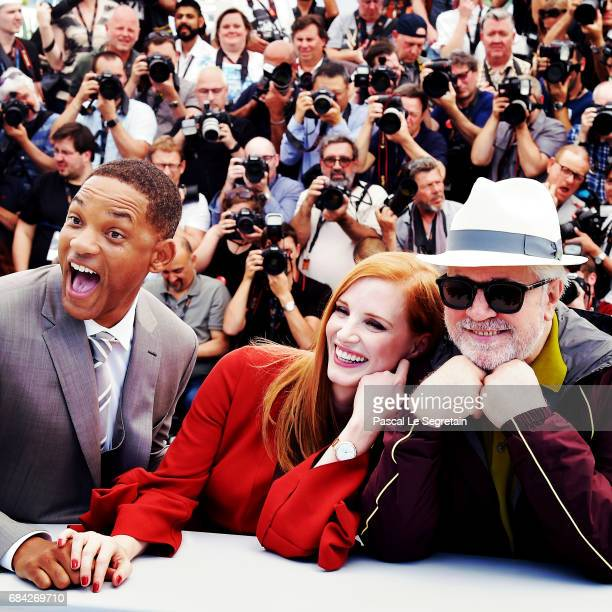Jury members Will Smith Jessica Chastain and President of the jury Pedro Almodovar attend the Jury photocall during the 70th annual Cannes Film...