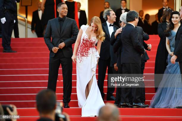 Jury members Will Smith Jessica Chastain Paolo SorrentinoPresident of the jury Pedro Almodovar jury members Park Chanwook and Fan Bingbing attend the...