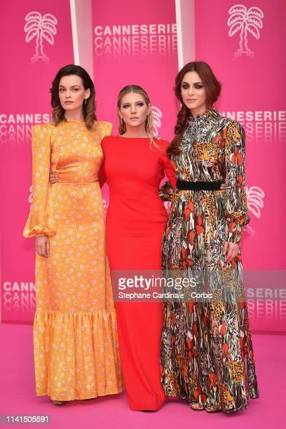 Jury menbers of the Cannes Series Actresses Emma Mackey Katheryn Winnick and Miriam Leone poses on the pink carpet during the 2nd Canneseries...