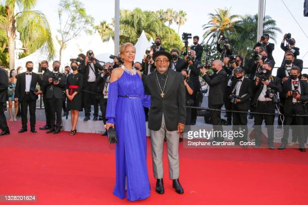"""Jury president and Director Spike Lee and Tonya Lewis Lee attend the """"Tre Piani """" screening during the 74th annual Cannes Film Festival on July 11,..."""