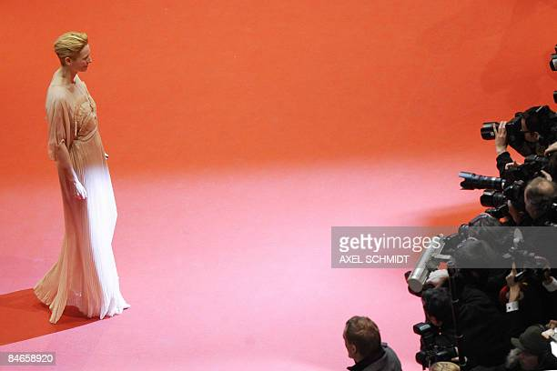 Jury President and Scottish Academy Award winning actress Tilda Swinton arrives on the red carpet at the Berlinale Palace for the premiere of the...