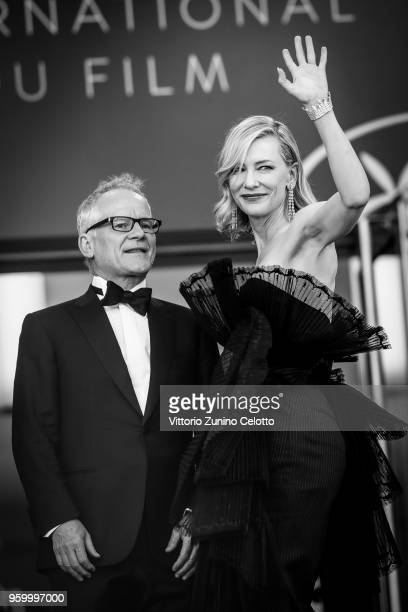 Image has been digitally retouched Jury president Cate Blanchett and Cannes Film Festival Director Thierry Fremaux attend the screening of...
