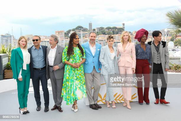 Jury President Cate Blanchett and jury members attend the Jury photocall during the 71st annual Cannes Film Festival at Palais des Festivals on May 8...