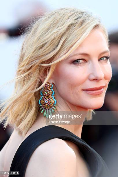 """Jury president Cate Blanchett, earring detail, attends the screening of """"Girls Of The Sun """" during the 71st annual Cannes Film Festival at Palais des..."""
