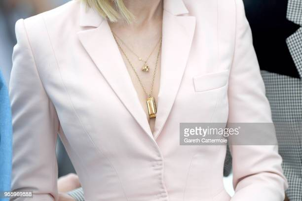 Jury president Cate Blanchett jewellry detail attends the photocall for Jury during the 71st annual Cannes Film Festival at Palais des Festivals on...