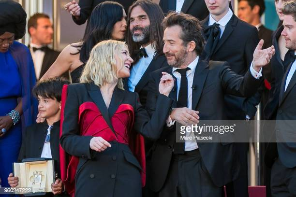 Jury president Cate Blanchett looks on as Sting and Shaggy perform on the red carpet steps during the closing ceremony of the 71st annual Cannes Film...