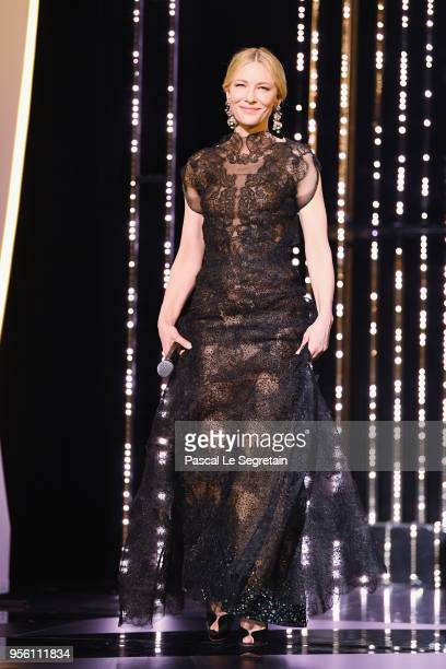 Jury president Cate Blanchett walks onstage at the Opening Ceremony during the 71st annual Cannes Film Festival at Palais des Festivals on May 8 2018...
