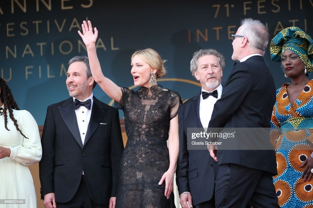 Jury president Cate Blanchett (2ndL) waves with jury members, Denis Villeneuve (L) and Khadja Nin (R) and Cannes Film Festival Director Thierry Fremaux (2ndR) at the screening of 'Everybody Knows (Todos Lo Saben)' and the opening gala during the 71st annual Cannes Film Festival at Palais des Festivals on May 8, 2018 in Cannes, France.