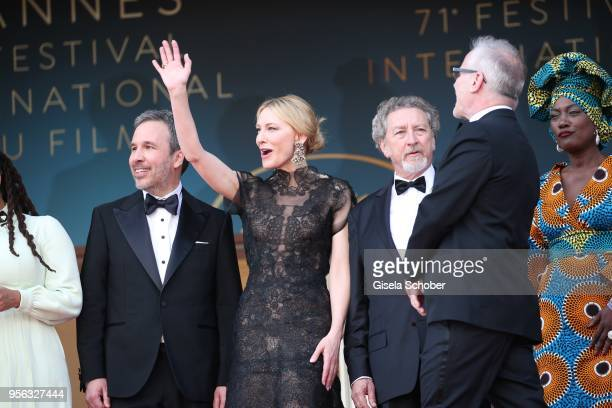 Jury president Cate Blanchett waves with jury members Denis Villeneuve and Khadja Nin and Cannes Film Festival Director Thierry Fremaux at the...