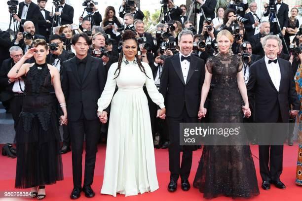 Jury president Cate Blanchett with jury members Kristen Stewart Chang Chen Ava DuVernay Denis Villeneuve and Robert Guediguian attend the screening...