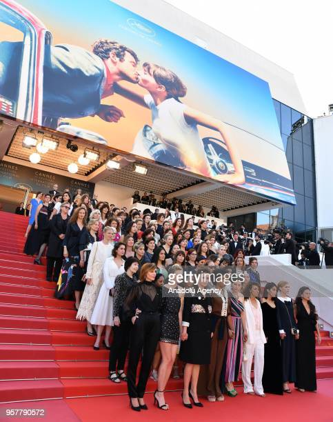 Jury president Cate Blanchett with other actresses and female directors stand on the steps at the red carpet in protest of the lack of female...
