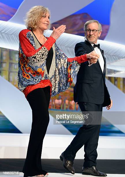 Jury president director Steven Spielberg escorts actress Kim Novak on stage at the Closing Ceremony during the 66th Annual Cannes Film Festival at...