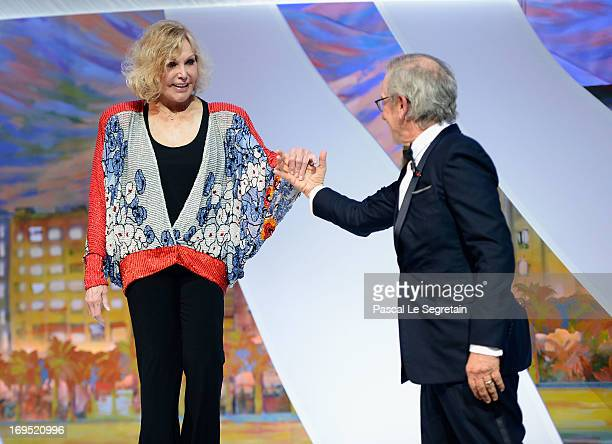 Jury president director Steven Spielberg escorts actress Kim Novak on stage at the Closing Ceremony of the 66th Annual Cannes Film Festival at the...