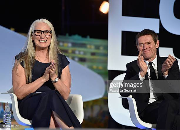 Jury President Jane Campion and Jury member Willem Dafoe are seen on stage during the Closing Ceremony at the 67th Annual Cannes Film Festival on May...