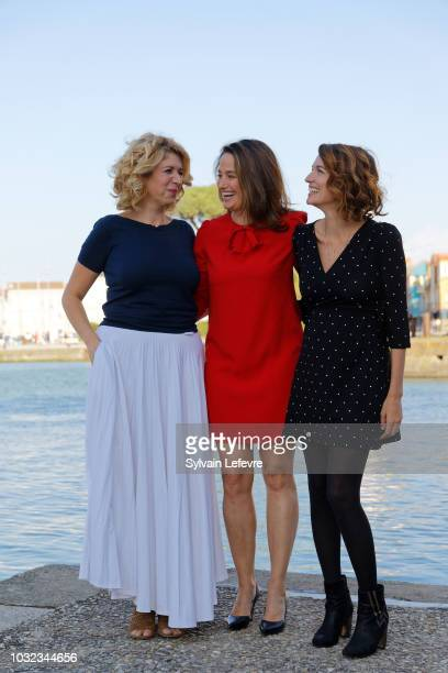 Jury President Marie Gillain and jury members Baya Kasmi and Audrey Ismael attend a photocall during the 20th Festival of TV Fiction on September 12...