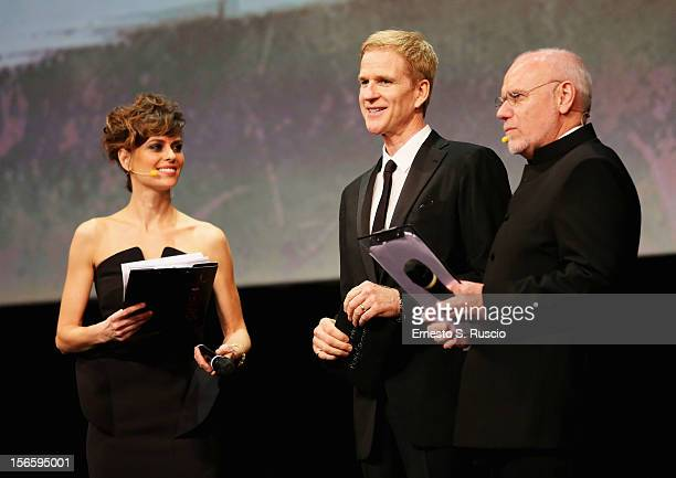 Jury President Matthew Modine Claudia Pandolfi and Marco Muller on stage during the Awards Ceremony at the 7th Rome Film Festival at Auditorium Parco...
