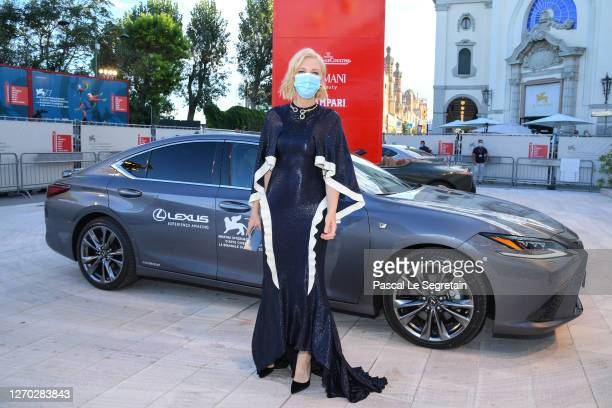 "Jury President of the 77th Venice Film festival, Australian-US actress Cate Blanchett arrives on the red carpet ahead of the ""Lacci"" screening during..."