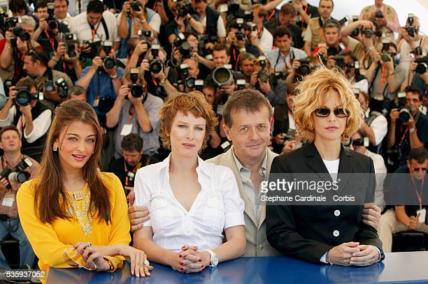 Jury President Patrice Chereau with the three female jury members LR Aishwarya Rai Karin Viard and Meg Ryan