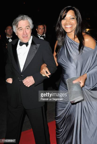 Jury President Robert De Niro and wife Grace Hightower attend the opening night dinner during the 64th Annual Cannes Film Festival at Palais des...