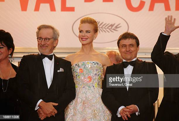 Jury president Steven Spielberg and jury members Nicole Kidman and Cristian Mungiu attend the Opening Ceremony and 'The Great Gatsby' Premiere during...