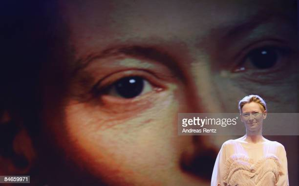 Jury President Tilda Swinton talks during the opening ceremony as part of the 59th Berlin Film Festival at the Berlinale Palast on February 5 2009 in...