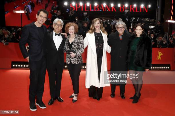 Jury president Tom Tykwer and Jury members Ryuichi Sakamoto Stephanie Zacharek Cecile de France and Adele Romanski attend the closing ceremony during...