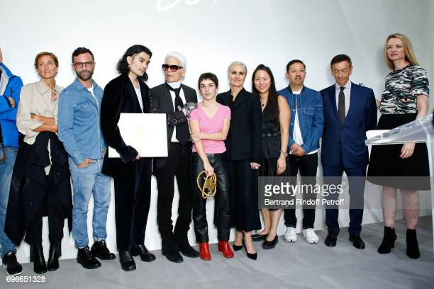 Jury stylist Phoebe Philo stylist Nicolas Ghesquiere Winner of the Special Prize from the Jury Stylist Kozaburo Akasaka stylist Karl Lagerfeld Winner...