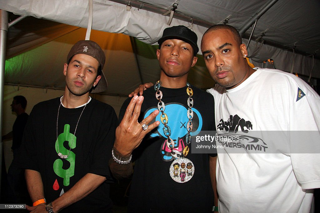 DJ Jus Ske, Pharrell and Rene McLean during Power Summit Present Interscope Party at Tranquility in Freeport, Bahamas.