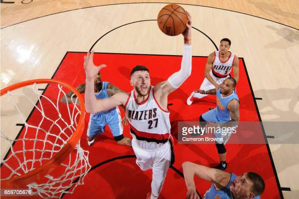 Jusef Nurkic of the Portland Trailblazers shoots the ball against the Denver Nuggets on March 28 2017 at the Moda Center in Portland Oregon NOTE TO...