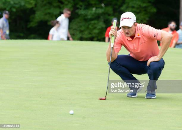 Jusitn Rose eye up his putt during the second round of the Memorial Tournament at Muirfield Village Golf Club in Dublin Ohio on June 01 2018