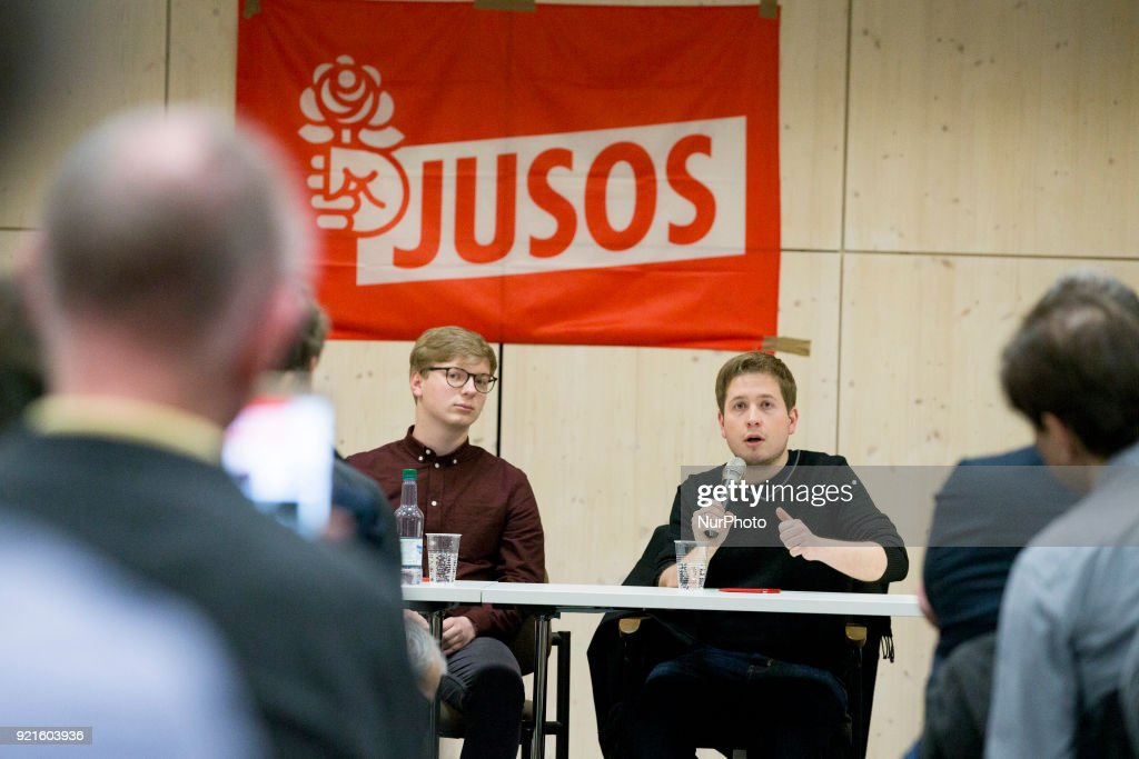 Jusos Chairman Kevin Kuehnert is pictured during a Nogroko Tour Event in Berlin, Germany on February 20, 2017.