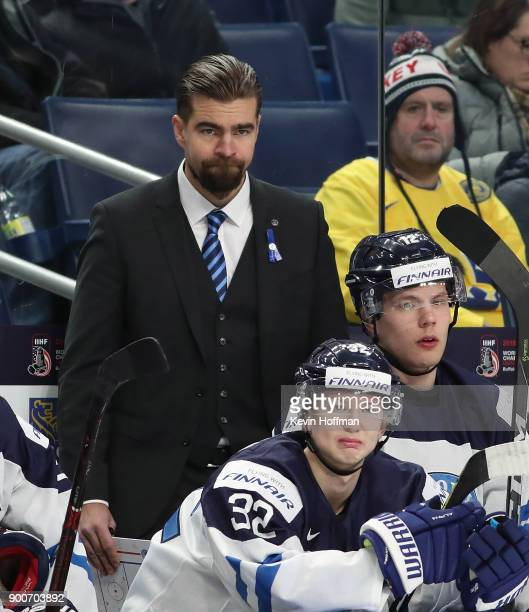 Jussi Ahokas head coach of Finland in the second period during the IIHF World Junior Championship against Denmark at KeyBank Center on December 28...