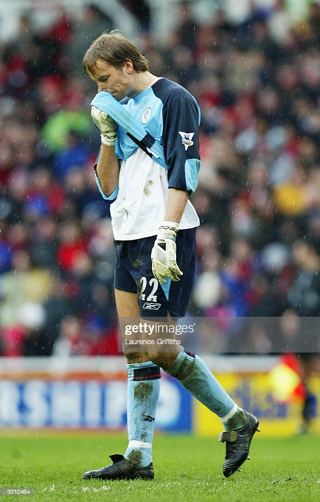 Jussi Jaaskelainen of Bolton shows his dissapointment after conceding an own goal during the FA Barclaycard Premiership match between Middlesbrough and Bolton Wanderers at The Riverside Stadium April 3, 2004 in Middlesbrough, England.