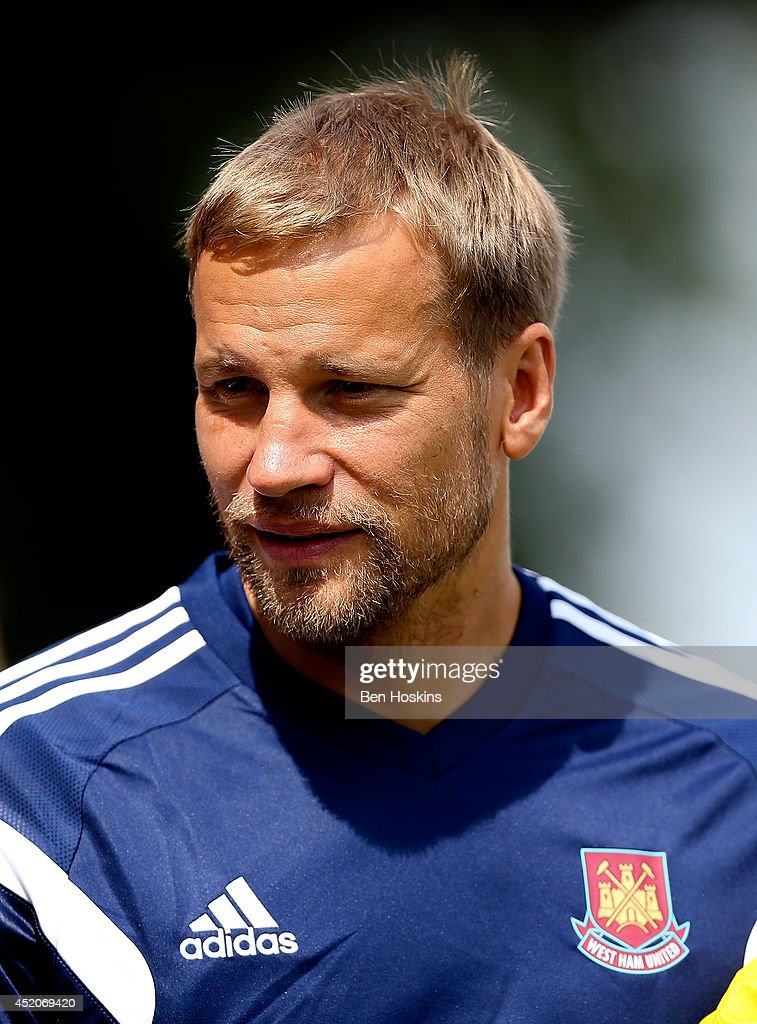Jussi Jaaskelainen of West Ham looks on prior to the Pre Season Friendly match between Stevenage and West Ham United at The Lamex Stadium on July 12, 2014 in Stevenage, England.