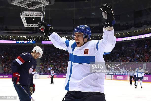 Jussi Jokinen of Finland celebrates a goal in the third period against the United States during the Men's Ice Hockey Bronze Medal Game on Day 15 of...