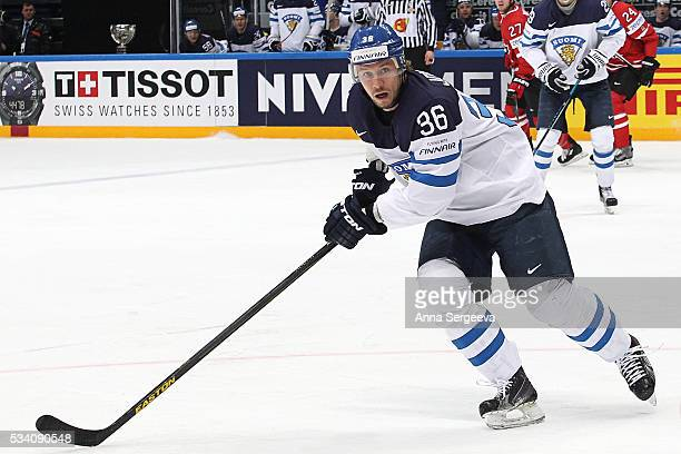 Jussi Jokinen of Finland skates against Canada during the 2016 IIHF World Championship gold medal game at the Ice Palace on May 22, 2016 in Moscow,...