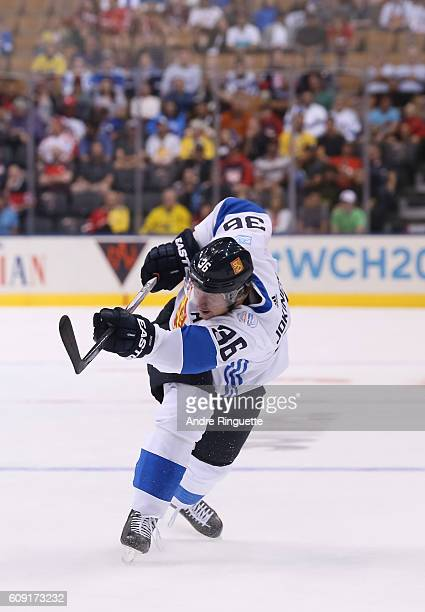 Jussi Jokinen of Team Finland fires a slapshot against Team Sweden during the World Cup of Hockey 2016 at Air Canada Centre on September 20 2016 in...