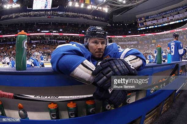 Jussi Jokinen of Team Finland stretches during warmups prior to his game against Team North America at the Air Canada Centre on September 18 2016 in...