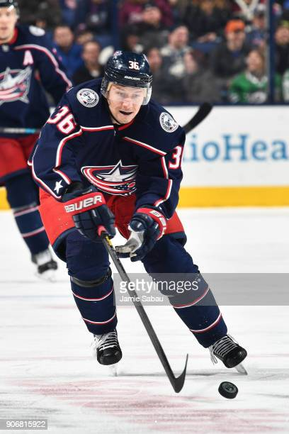 Jussi Jokinen of the Columbus Blue Jackets reaches for a loose puck during the third period of a game against the Dallas Stars on January 18 2018 at...