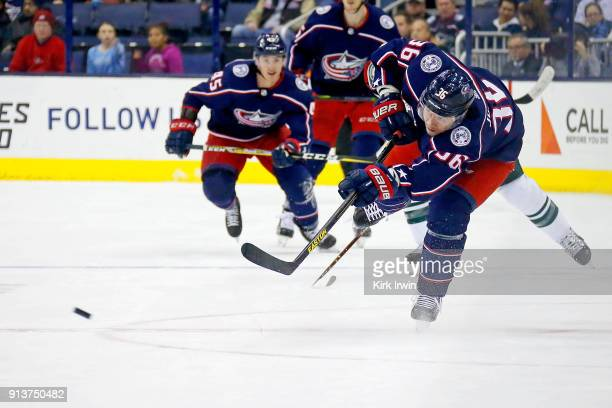 Jussi Jokinen of the Columbus Blue Jackets shoots the puck during the game against the Minnesota Wild on January 30 2018 at Nationwide Arena in...