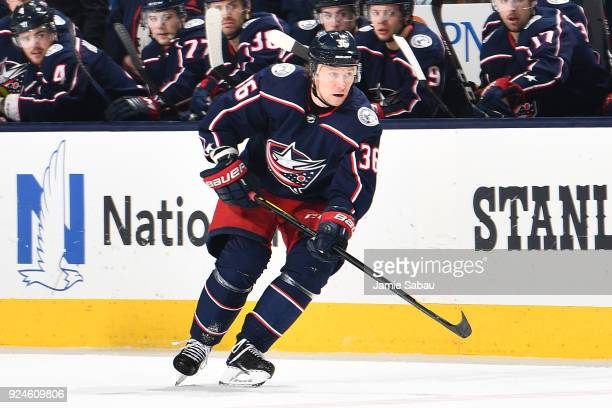 Jussi Jokinen of the Columbus Blue Jackets skates against the Chicago Blackhawks on February 24 2018 at Nationwide Arena in Columbus Ohio