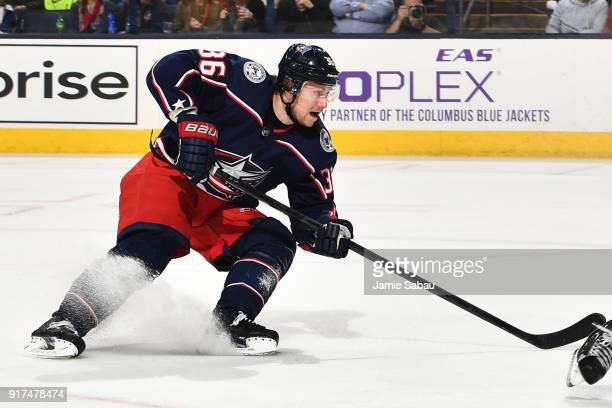 Jussi Jokinen of the Columbus Blue Jackets skates against the New Jersey Devils on February 10 2018 at Nationwide Arena in Columbus Ohio